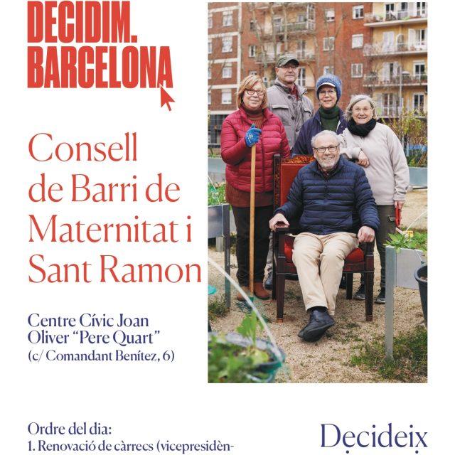 Acull a la sessió del Consell de Barri de la Maternitat i Sant Ramon en motiu dels pressupostos participatius.